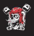 viking skull motorcye piston chain vector image vector image