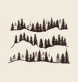 Vintage engraving forest doodle sketch fir-trees