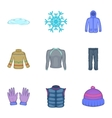 Warm clothes icons set cartoon style vector image vector image