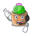 with headphone mascot star cactus decorate in the vector image