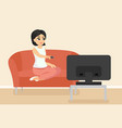 woman sitting on couch vector image vector image