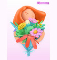 woman with a bouquet wildflowers 3d plasticine vector image vector image
