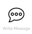 write message chat icon editable line vector image vector image