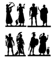 Collection of silhouettes of the Greek soldiers an vector image