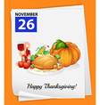 A calendar showing the 26th of November vector image vector image