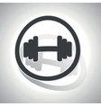 Barbell sign sticker curved vector image