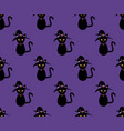 black cat witch seamless on purple background vector image vector image