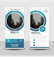 blue circle roll up business brochure flyer banner vector image vector image