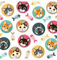 cats and fishbone pattern vector image vector image