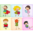 children doing different actions vector image vector image