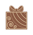 christmas gift shape gingerbread flat design icon vector image vector image