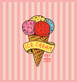 circus gelato badge retro italian ice cream vector image