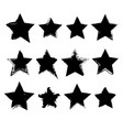 collection hand drawn stars vector image