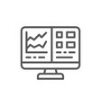 computer screen with spreadsheet financial vector image