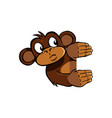 curious monkey holding up an invisible frame vector image vector image