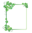 decorative green frame with shamrock vector image vector image