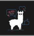 doodle black llama vector image vector image