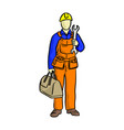 doodle mechanic with a bag of equipments and big vector image vector image