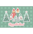 Family couple with Christmas shopping Greeting vector image vector image
