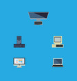 flat icon laptop set of display computer vector image vector image