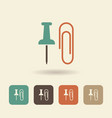 flat icon stationery paper clip and thumbtack vector image vector image