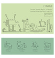 Fondue set of linear icons vector image vector image