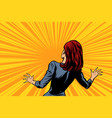 frightened woman back human reaction vector image vector image