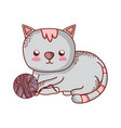 gray cat with wool ball pet domestic isolated icon vector image vector image