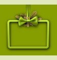 green christmas background with satin bow vector image vector image