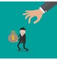 Hand grabbing money bag vector image