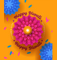 happy diwali festival card papercut flower candle vector image vector image