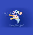 happy new year card color paper cut design vector image vector image
