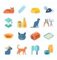 Healthy indoor cat flat icons set vector image vector image