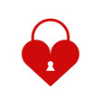 heart icon with padlock vector image vector image