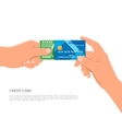 Human hand holding bank credit card and cash money vector image vector image