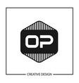 initial op letter logo template design vector image vector image