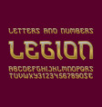 legion golden letters and numbers with currency vector image vector image