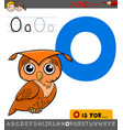letter o with cartoon owl bird vector image vector image