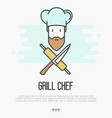 logo with bearded chef in hat with knife vector image