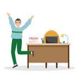 man enjoy end working week friday vector image vector image