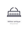 militar antique building outline icon isolated vector image vector image
