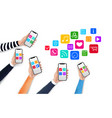 mobile apps concept with media icons and vector image vector image