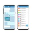 modern smartphone messenger app mockup vector image vector image