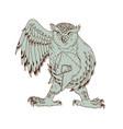 owl holding spartan helmet drawing vector image vector image