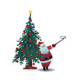santa claus taking selfie vector image