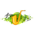 saxophone musical instrument with melody symbols vector image