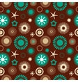 Seamless abstract floral pattern brown and blue vector image vector image