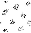 seamless pattern doodles hand drawn crowns vector image vector image
