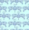 The graphic pattern of blue dragonflies on a blue vector image vector image