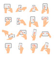 touchscreen hand gestures collection vector image vector image